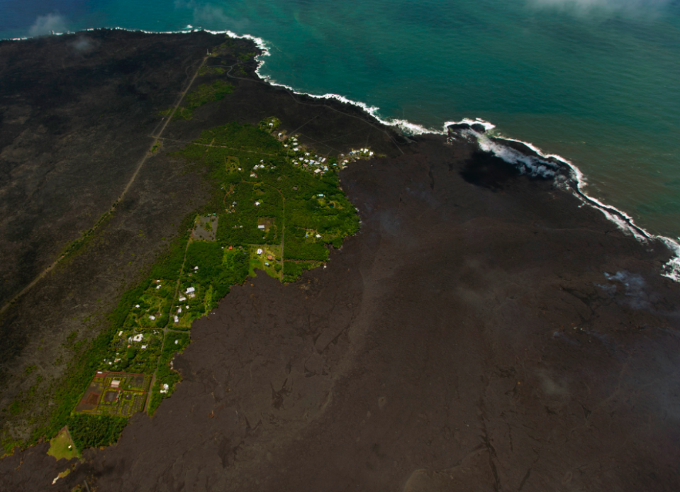 <em>Most of the Kapoho area including the tide pools is now covered in fresh lava with few properties still intact (PA)</em>