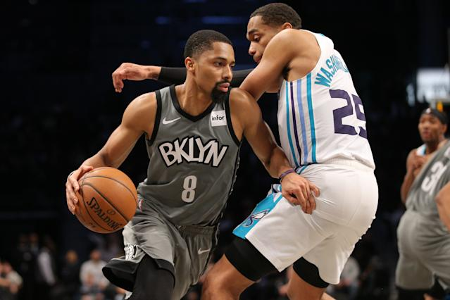 Spencer Dinwiddie has averaged 23.8 points and 7.5 assists per game in Kyrie Irving's absence. (Brad Penner-USA TODAY Sports)