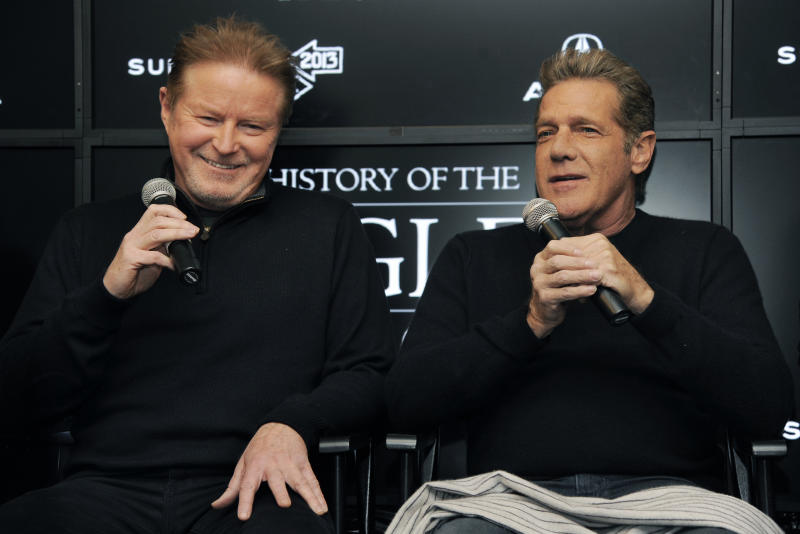 """Don Henley, left, and Glenn Frey of The Eagles take part in a Q&A session with reporters at the 2013 Sundance Film Festival, Saturday, Jan. 19, 2013, in Park City, Utah. The documentary film """"The History of The Eagles Part 1"""" is being shown at the festival. (Photo by Chris Pizzello/Invision/AP)"""