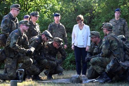 FILE PHOTO: German Defence Minister Annegret Kramp-Karrenbauer visits troops of the German army Bundeswehr in Celle