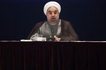 Iran's President Hassan Rouhani gives a news conference on the sidelines of the 69th United Nations General Assembly at United Nations Headquarters in New York