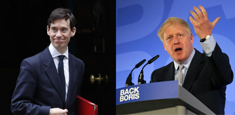 "This combination photo shows Britain's Secretary of State for International Development, Rory Stewart, leaving 10 Downing Street in London, Tuesday, June 11, 2019, left, and Conservative Party lawmaker Boris Johnson speaking during the official launch of his leadership campaign, in London, Wednesday June 12, 2019. The populist and the pragmatist: of the ten candidates running to become Britain's next prime minister, they're the ones generating most of the buzz. The former is Boris Johnson, who ran London as mayor for eight years until 2016 and then became foreign secretary until his resignation last summer. The pragmatist is International Development Secretary Rory Stewart, the self-styled ""anti-Boris,"" who accuses Johnson of selling the public ""fairy tales"" about a clean and simple exit from the EU. (AP Photo)"