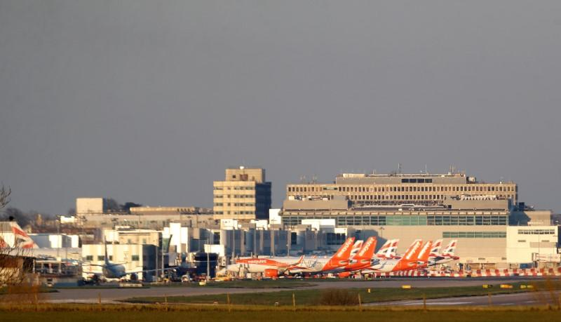 Easyjet and British Airways planes are pictured at Gatwick airport