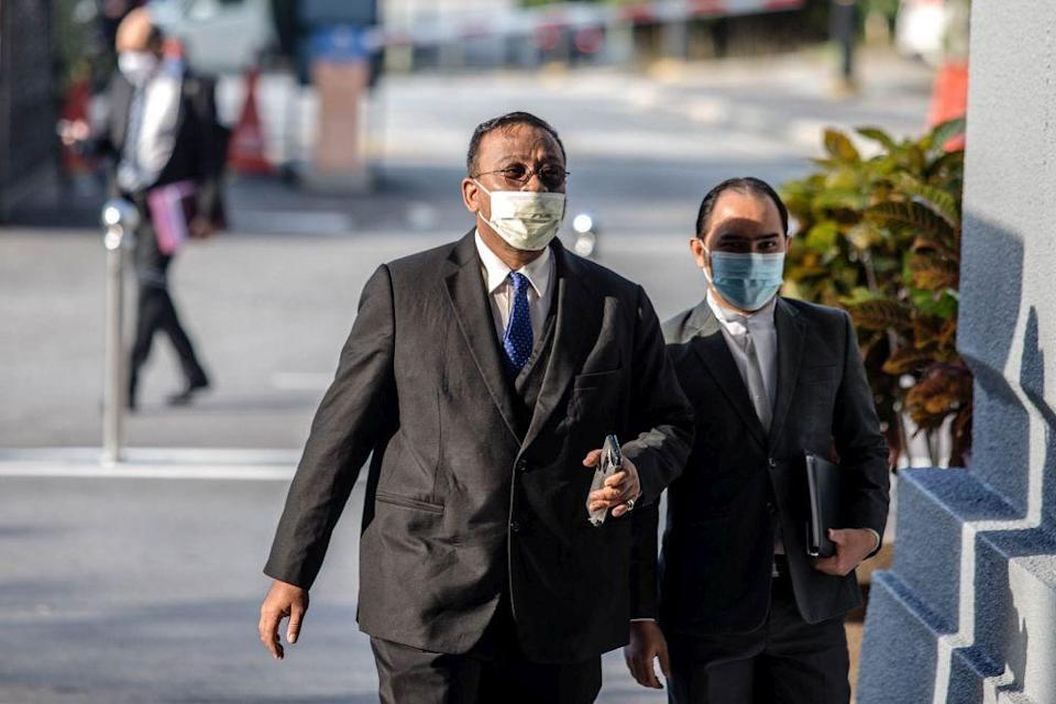 Lawyer Mohd Khairul Azam Abdul Aziz is pictured at the Kuala Lumpur Court Complex August 3, 2021. ― Picture by Firdaus Latif