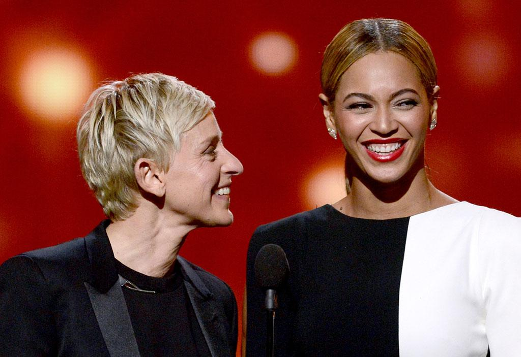 Ellen DeGeneres and Beyonce onstage during the 55th Annual Grammy Awards at the Staples Center in Los Angeles, CA on February 10, 2013.