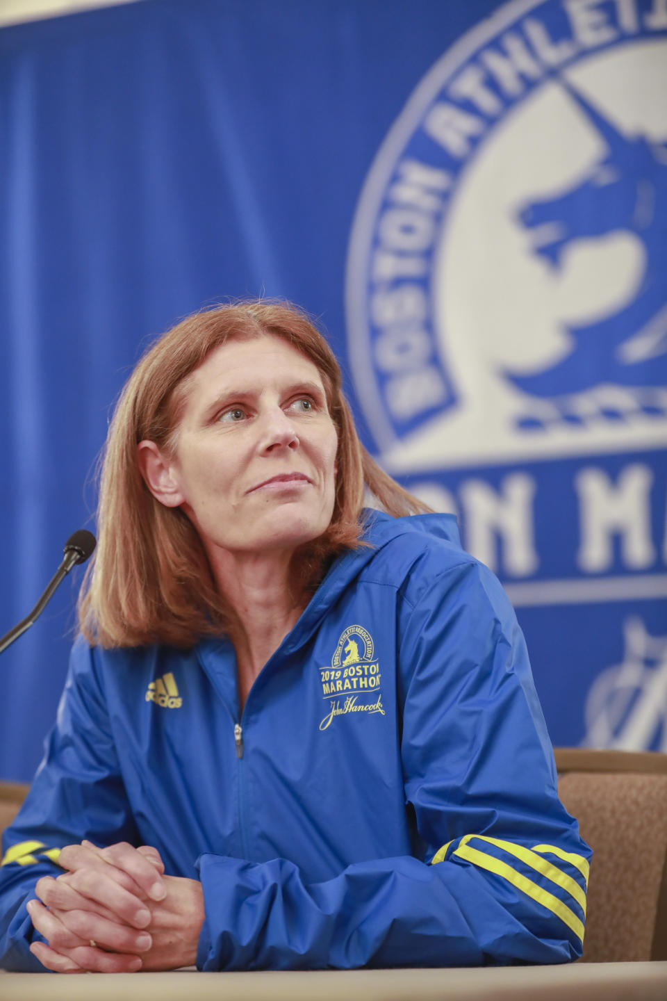BOSTON, MA- April 11, 2019: B.A.A. Athletes with Disabilities Manager, Marla Runyan listens to a question during a B.A.A. media conference at the Fairmont Copley Plaza on Thursday, April 11, 2019 in Boston, Massachusetts. (Staff photo By Nicolaus Czarnecki/MediaNews Group/Boston Herald) (Photo by Nicolaus Czarnecki/MediaNews Group/Boston Herald via Getty Images)