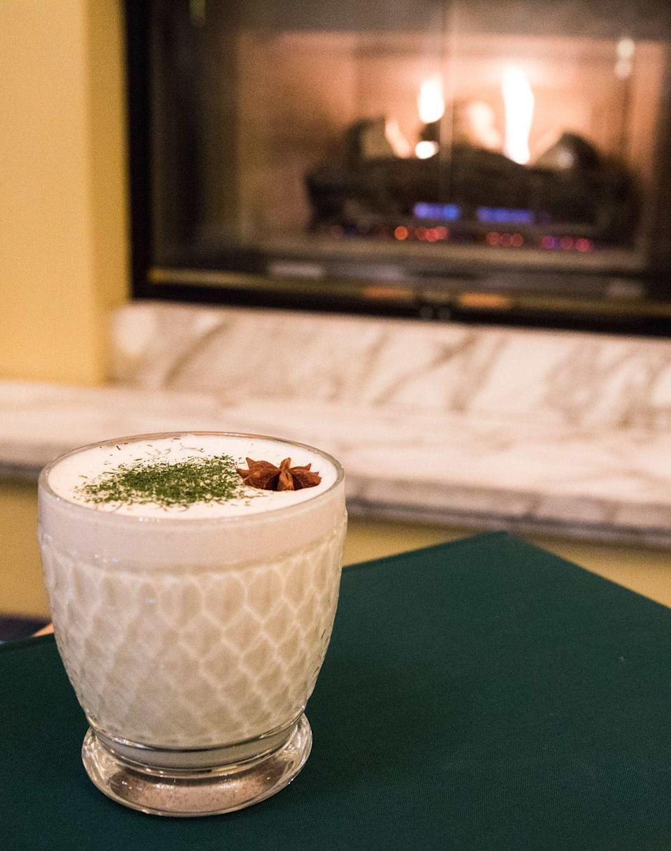 """<p><strong>Ingredients</strong><br>.5 oz Ancho Reyes Verde<br>1 oz Amontillado Sherry<br>.5 oz simple syrup<br>2 oz whole milk<br>1 oz heavy cream<br>Egg whites from 1 egg<br>Pinch of cinnamon<br>Shaved nutmeg<br>Pinch of green matcha powder</p><p><strong>Instructions</strong><br>Dry shake and then shake with ice, strain, and pour into a festive holiday mug. Top with shaved green matcha powder-accented with star anise.</p><p><em>Courtesy of <a href=""""http://outlierseattle.com/"""" rel=""""nofollow noopener"""" target=""""_blank"""" data-ylk=""""slk:Outlier"""" class=""""link rapid-noclick-resp"""">Outlier</a>, Seattle</em></p>"""