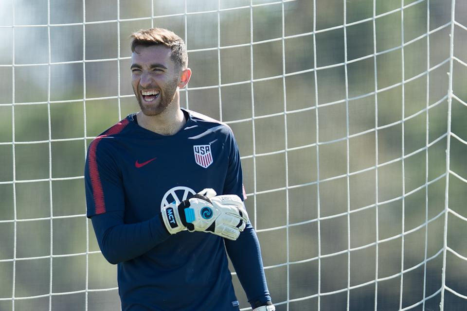 BRADENTON, FL - JANUARY 08: Matt Turner of the United States laugh during a drill at IMG Academy on January 08, 2020 in Bradenton, Florida. (Photo by John Dorton/ISI Photos/Getty Images)