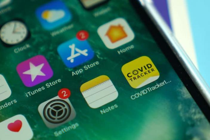 FILE PHOTO: A photo illustration shows the Covid Tracker Ireland app in Galway