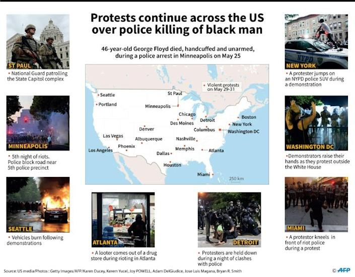 Map of the US with photos showing violent protests on May 29-31 over the death of a handcuffed and unarmed black man, George Floyd, during a police arrest on May 25. (AFP Photo/Sébastien CASTERAN)