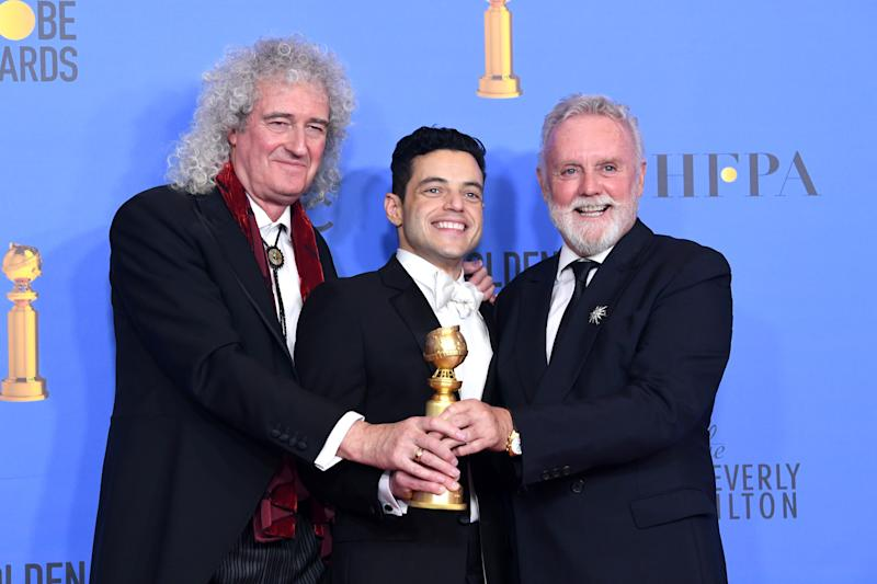 BEVERLY HILLS, CA - JANUARY 06: Best Actor in a Motion Picture Drama for 'Bohemian Rhapsody' winner Rami Malek (C) with Brian May and Roger Taylor of Queen pose in the press room during the 76th Annual Golden Globe Awards at The Beverly Hilton Hotel on January 6, 2019 in Beverly Hills, California. (Photo by Kevin Winter/Getty Images)