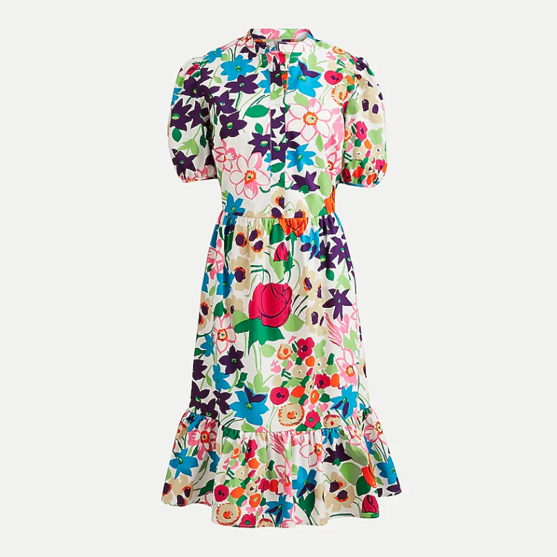 Puff-sleeve dress in vibrant garden print. Image via J.Crew.