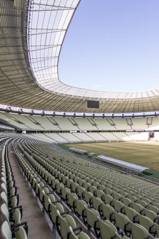 This photo released by Portal da Copa shows the inside of Castelao stadium in Fortaleza, Brazil, March 13, 2014. Castelao will host matches during the 2014 World Cup soccer tournament. (AP Photo/Fabio Lima, Portal da Copa)
