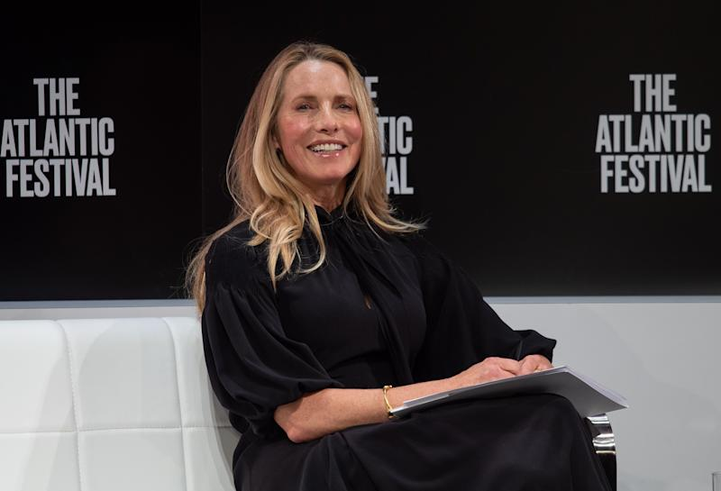 Laurene Powell Jobs, widow of Apple founder Steve Jobs, interviews Disney CEO Bob Iger at the Atlantic Festival in Washington, DC, on September 25, 2019. (Photo by NICHOLAS KAMM / AFP) (Photo credit should read NICHOLAS KAMM/AFP/Getty Images)