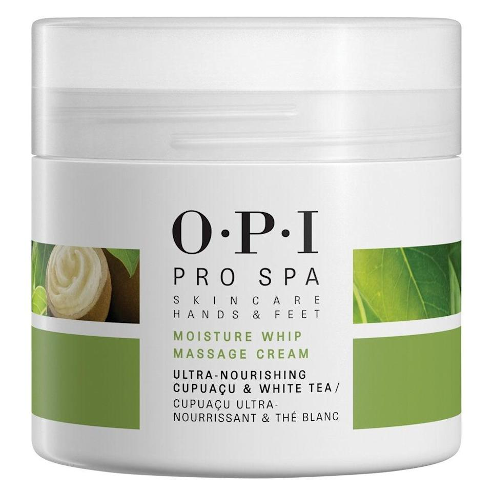 """<h2>OPI ProSpa Moisture Whip Massage Cream <br></h2>Give yourself a hand or foot massage with this cream that delivers unparalleled hydration with its cupuaçu, shea, and coconut butter blend and collagen-building peptides. Prefer a lighter formula? Try <a href=""""https://www.ulta.com/prospa-protective-hand-nail-cuticle-cream?productId=xlsImpprod16521093"""" rel=""""nofollow noopener"""" target=""""_blank"""" data-ylk=""""slk:this protective hand cream"""" class=""""link rapid-noclick-resp"""">this protective hand cream</a>, instead. <br><br><br><strong>OPI</strong> Pro Spa Moisture Whip Massage Cream, $, available at <a href=""""https://www.amazon.com/gp/product/B07452TC3G"""" rel=""""nofollow noopener"""" target=""""_blank"""" data-ylk=""""slk:Amazon"""" class=""""link rapid-noclick-resp"""">Amazon</a>"""