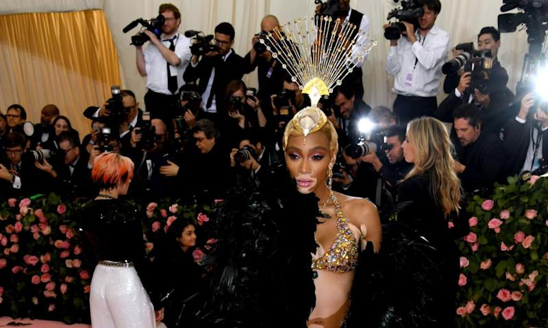 Winnie Harlow in a bralet at the Met Gala, in New York, on 6 May.