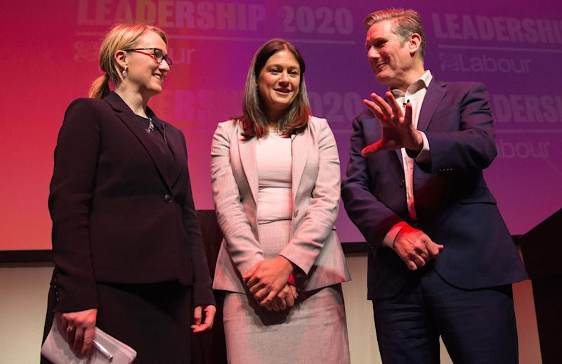 Keir Starmer alongside his two rivals for the leadership, Rebecca Long-Bailey and Lisa Nandy. (Photo: Robert Perry via Getty Images)