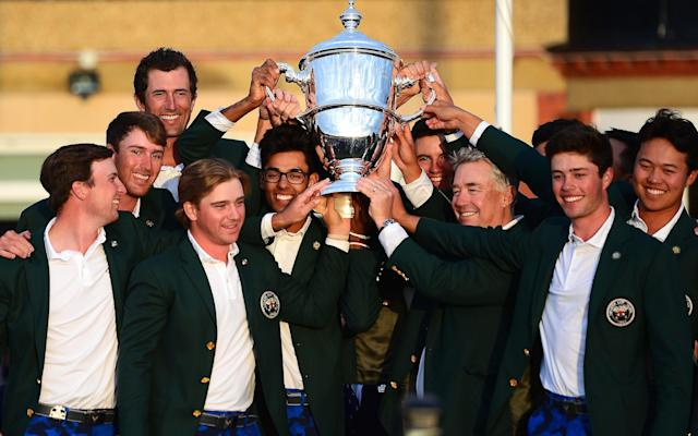 The US team hold aloft the Walker Cup at Royal Liverpool Golf Club on Sunday - 2019 R&A
