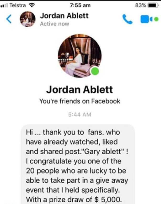Seen here, the message sent from the imposter Jordan Ablett Facebook account.
