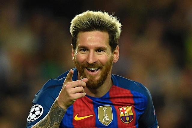 Barcelona's Argentinian forward Lionel Messi celebrates a goal during the UEFA Champions League football match FC Barcelona vs Manchester City on October 19, 2016 (AFP Photo/Lluis Gene)