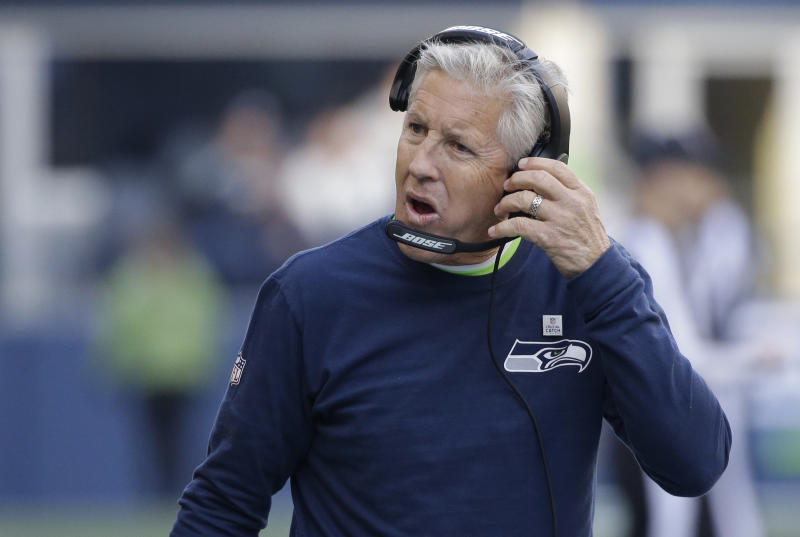 Seahawks head coach Pete Carroll is the subject of a discovery request from Colin Kaepernick's legal team. (AP)