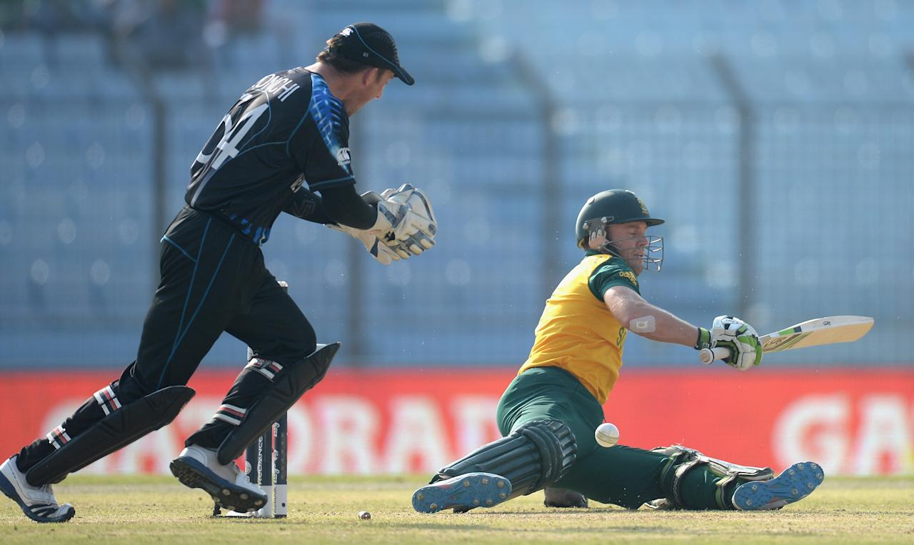 CHITTAGONG, BANGLADESH - MARCH 24:  AB de Villiers of South Africa is bowled by Nathan McCullum of New Zealand during the ICC World Twenty20 Bangladesh 2014 Group 1 match between New Zealand and South Africa at Zahur Ahmed Chowdhury Stadium on March 24, 2014 in Chittagong, Bangladesh.  (Photo by Gareth Copley/Getty Images)