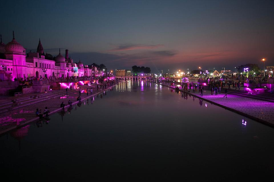 A view of decorated view of 'Ram Ki Paidi' Saryu river on a day before the arrival of Prime Minister Narendra Modi for Gournd breaking ceremony of Ram Temple ,during the Covid 19 pandemic, in Ayodhya, India on August 4, 2020. (Photo by Ritesh Shukla/NurPhoto via Getty Images)