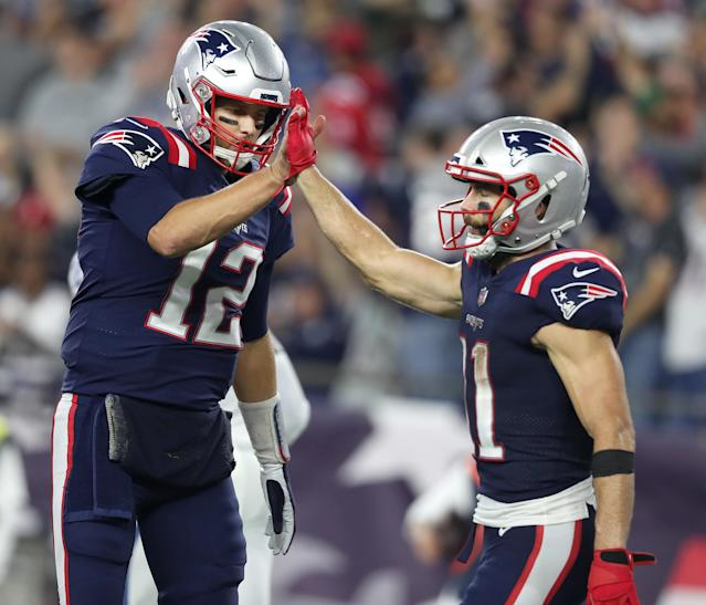 """Madden 20 trolled <a class=""""link rapid-noclick-resp"""" href=""""/nfl/players/5228/"""" data-ylk=""""slk:Tom Brady"""">Tom Brady</a> and the times teammates have ignored his attempts to high five them. (Getty Images)"""
