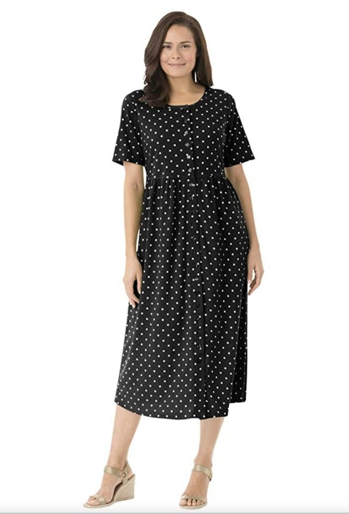 <p>Dress up this <span>Woman Within Button-Front Dress</span> ($26 - $39) with some cute wedges for an elevated ensemble. </p>