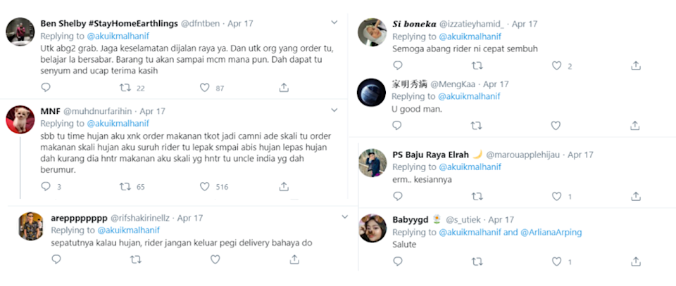 Social media users were amazed that the rider still delivered the food. — Screengrab via Twitter/@akuikmalhanif
