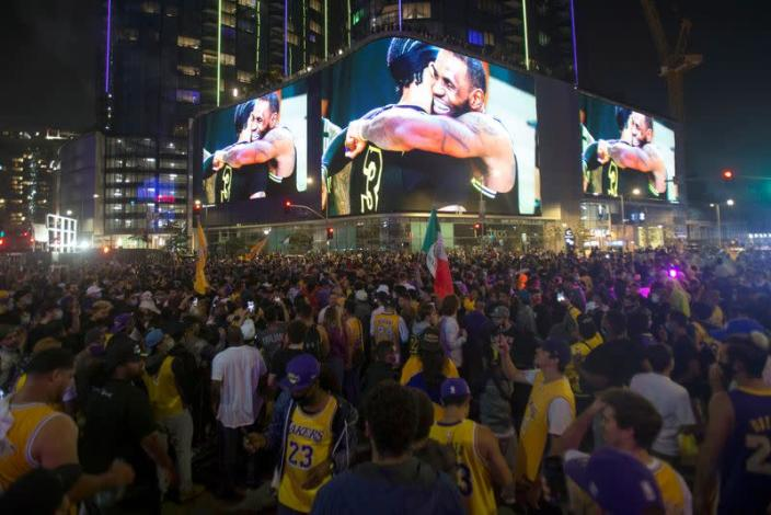 FILE PHOTO: Lakers celebrate 2020 NBA Championship win in Los Angeles