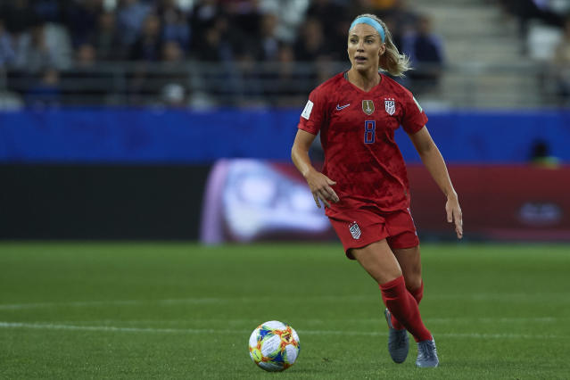 Julie Ertz of USA in action during the 2019 FIFA Women's World Cup France group F match between USA and Thailand at Stade Auguste Delaune on June 11, 2019 in Reims, France. (Quality Sport Images/Getty Images)