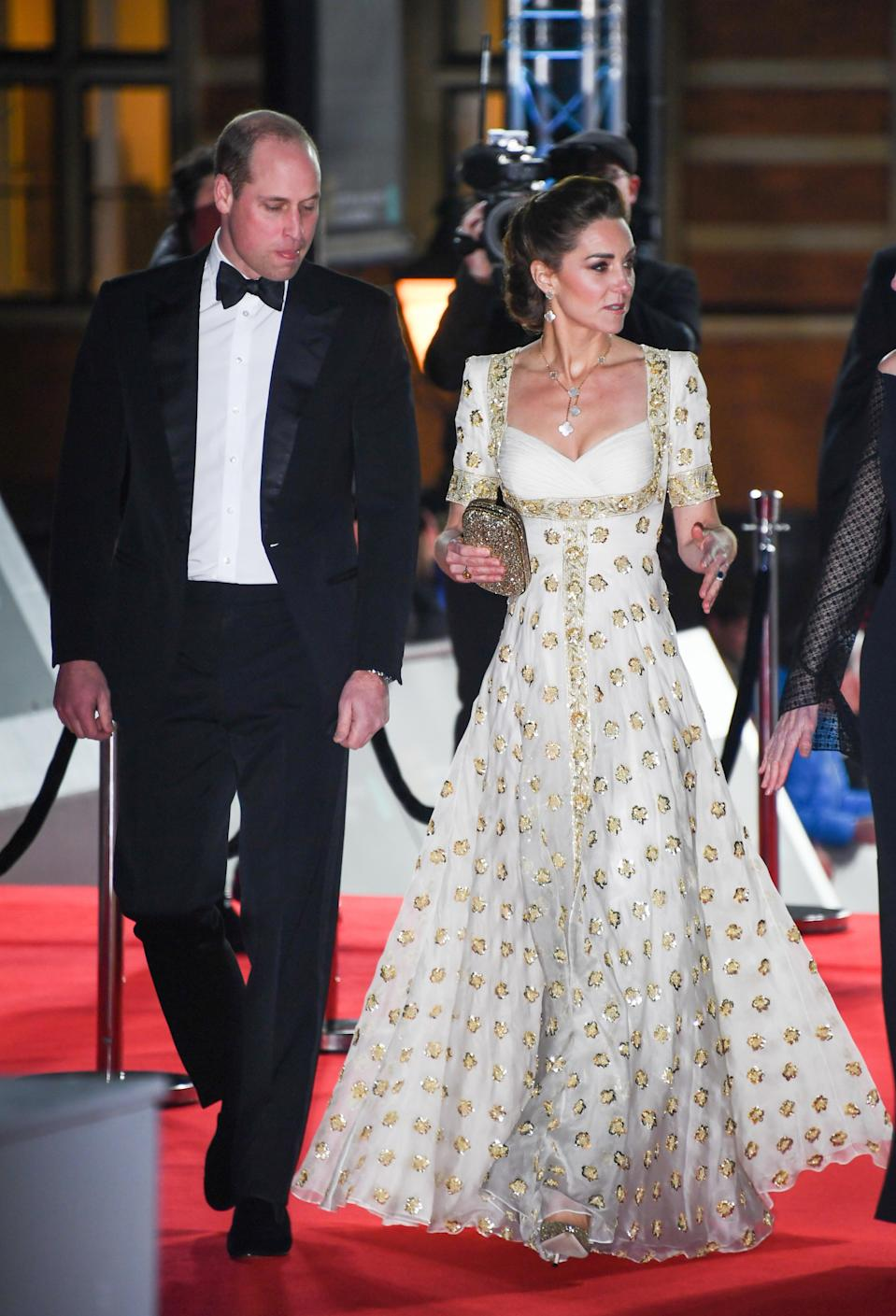 Kate rewore an Alexander McQueen dress to the 2020 BAFTAs that she first wore to a state dinner in Malaysia in 2012 (Gareth Cattermole/Getty Images)