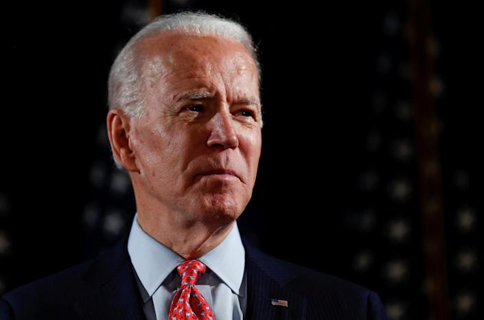Joe Biden speaks about responses to the COVID-19 coronavirus pandemic. (Carlos Barria/Reuters)