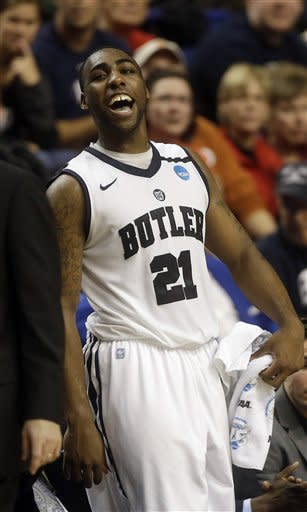 Butler forward Roosevelt Jones (21) reacts during the second half their second round NCAA college basketball tournament game against Bucknell Thursday, March 21, 2013, in Lexington, Ky. Butler won 68-56. (AP Photo/John Bazemore