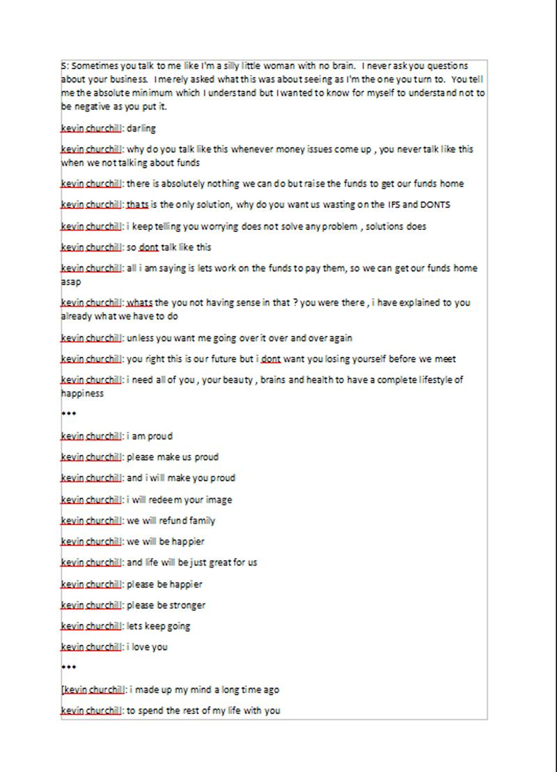 A transcript of messages sent from the gang to one of their victims