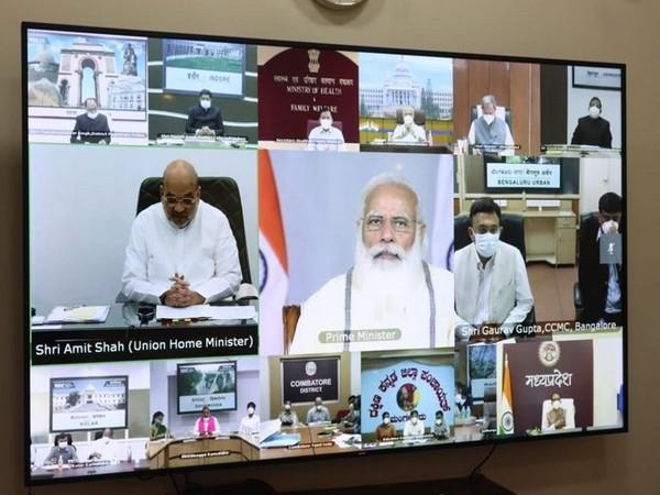 Prime Minister Narendra Modi on Tuesday held a meeting with field officials from states and districts about their experience in handling the COVID-19 pandemic.