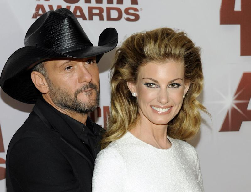 "FILE - This Nov. 9, 2011 file photo shows country singers Tim McGraw, left, and his wife Faith Hill at the 45th Annual CMA Awards in Nashville. will be doing a 10-weekend run of shows at The Venetian starting Dec. 7 through next April. The couple planned to announce the news Tuesday, Aug. 7, 2012, during a news conference at the hotel. The show is called ""Soul2Soul,"" named after their hugely successful co-headlining tours in 2000 and 2006. The Vegas shows will mark the first time in six years that McGraw and Hill have performed together in the United States.  Pre-sale tickets go on sale Wednesday and open to the general public on Monday, Aug. 13. (AP Photo/Evan Agostini, file)"