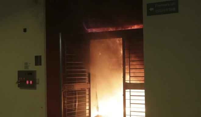 The lobby of Tai Fai House, Fanling, was set on fire by protesters. Photo: Edmond So