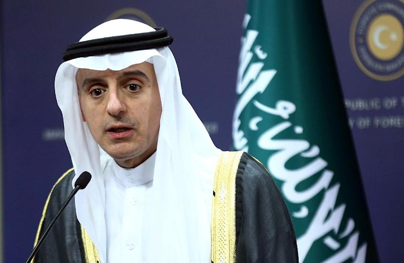 Saudi Foreign Minister Adel Al-Jubeir (L) delivers a speech during a joint press conference with Turkey's Foreign Minister on October 15, 2015 in Ankara