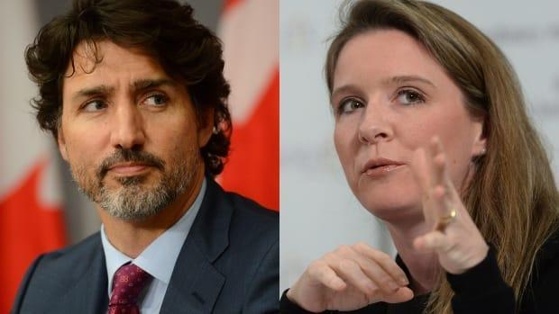 Left: Prime Minister Justin Trudeau. Right: Trudeau's Chief of Staff Katie Telford.  (Sean Kilpatrick/The Canadian Press - image credit)