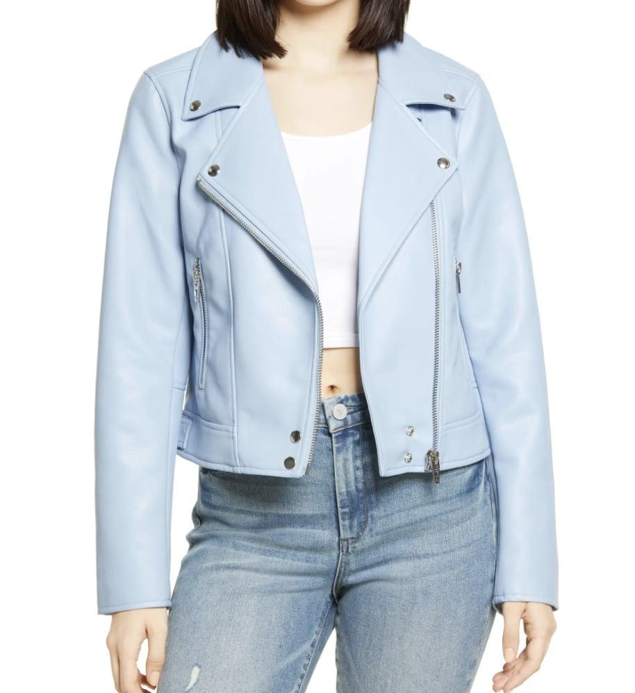 <p>This fresh-looking <span>BlankNYC Good Vibes Faux Leather Moto Jacket</span> ($50, originally $98) will look adorable with a floral dress.</p>