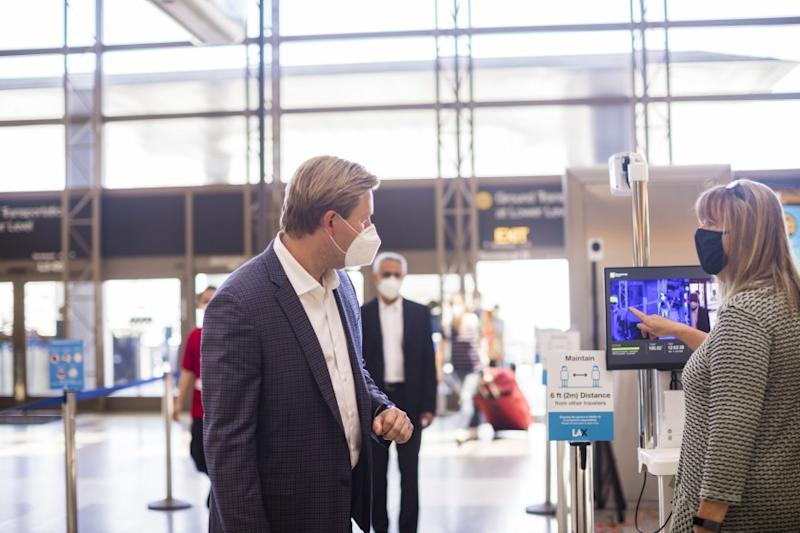 Los Angeles International Airport is testing thermal cameras to identify passengers with high body temperatures.