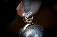 Aether diamond made from captured CO2 pictured at the RFG Manufacturing Riviera jewelry design facility in New York