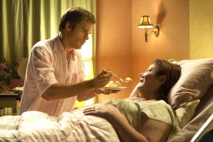 Michael C. Hall as Dexter Morgan and Margo Martindale as Camilla in Dexter (Photo: Showtime)