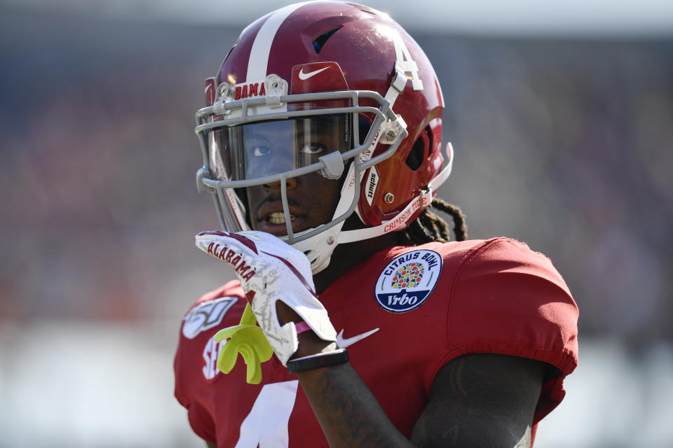 Alabama's Jerry Jeudy has some stiff competition for the top receiver in the 2020 draft class. (Photo by Roy K. Miller/Icon Sportswire via Getty Images)