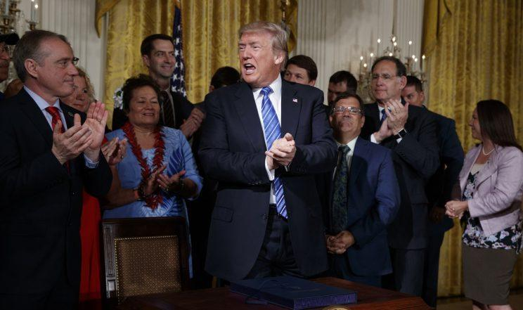 President Trump after signing the Department of Veterans Affairs Accountability and Whistleblower Protection Act, June 23, 2017. (Photo: Evan Vucci/AP)