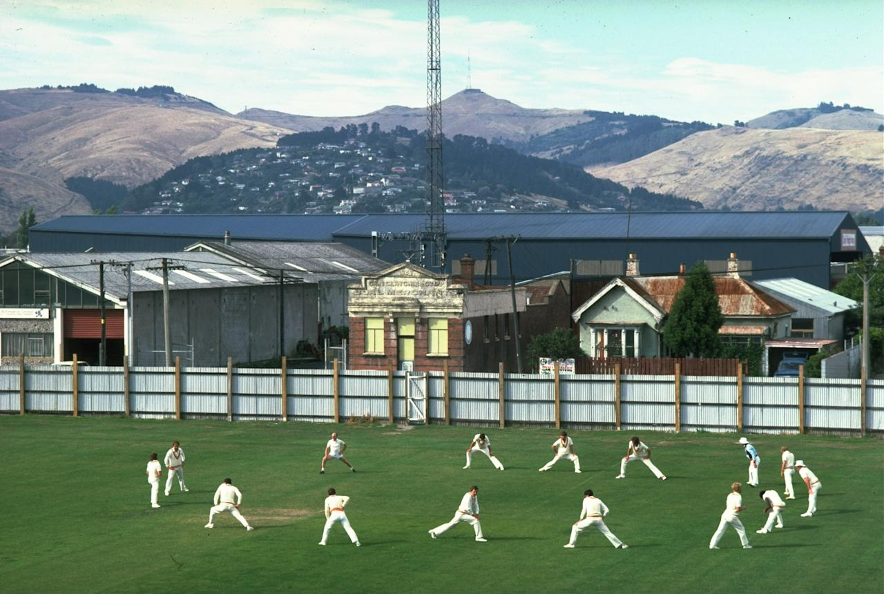 5 Feb 1984:  Scenic view of the hills of Christchurch as the English team warm up for the Second Test match against New Zealand at Lancaster Park in Christchurch, New Zealand. New Zealand won the match by an innings and 132 runs. \ Mandatory Credit: Adrian  Murrell/Allsport