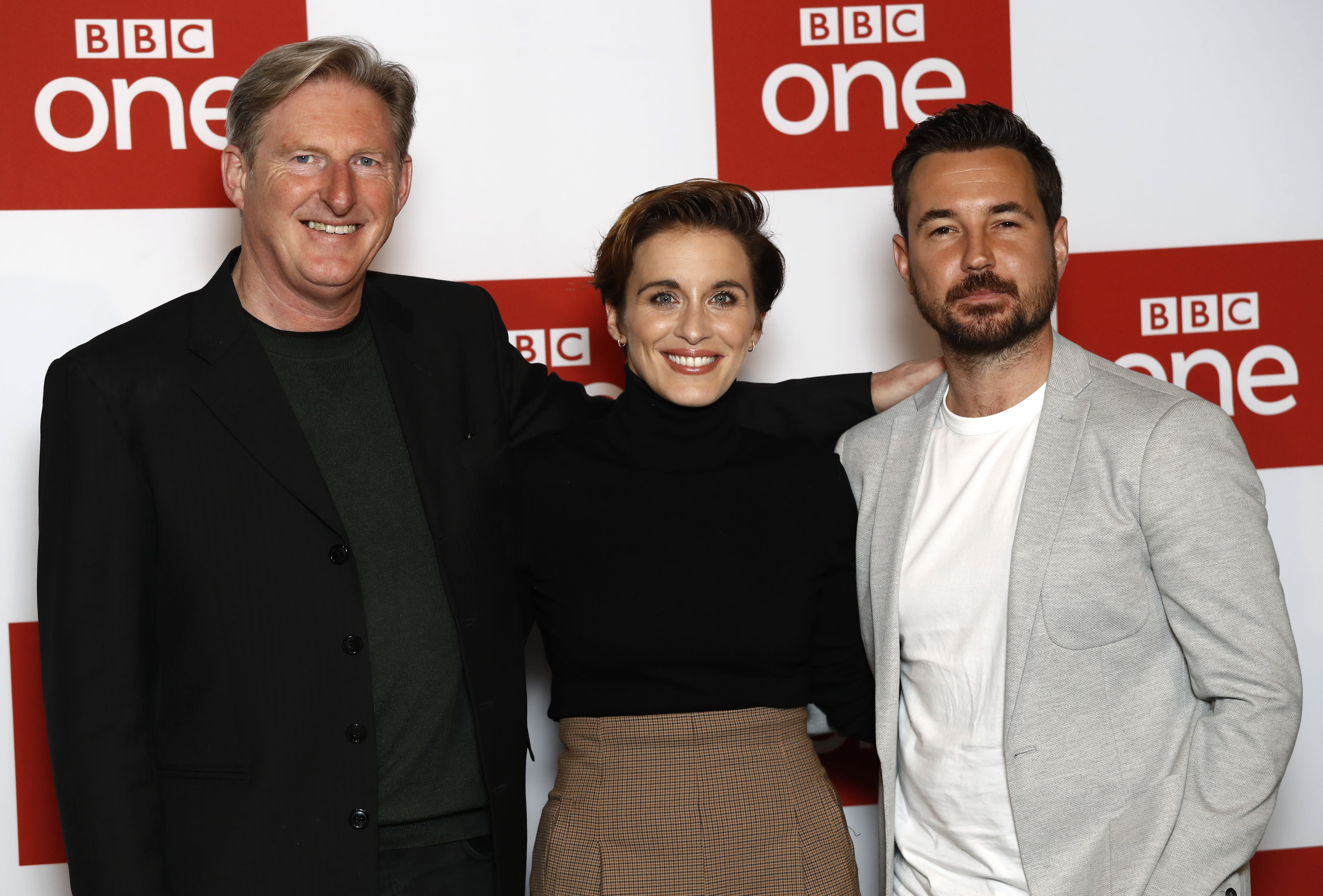 """LONDON, ENGLAND - MARCH 18: Adrian Dunbar, Vicky McClure and Martin Compston attend the """"Line of Duty"""" photocall at BFI Southbank on March 18, 2019 in London, England. (Photo by John Phillips/Getty Images)"""