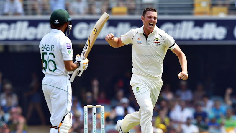 Seen here, Josh Hazlewood celebrates a wicket in Australia's first Test win.